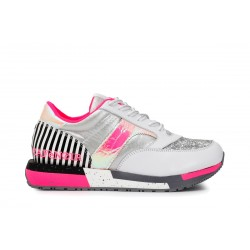 Sneakers fluo in similpelle...