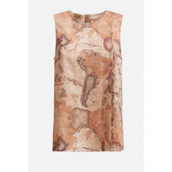 Top in twill stampa Geo...